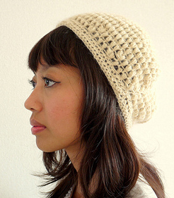Puff stitch crochet beret