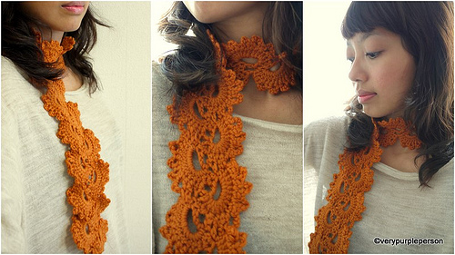 Orange lace scarf