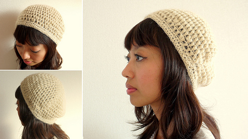 Puff stitch crochet beret