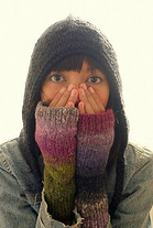 Fingerless mitts and black hood