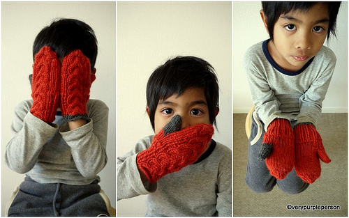 Red cable mitts