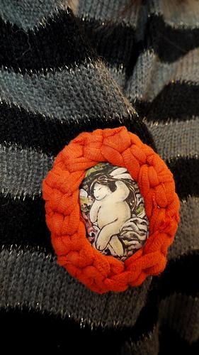 Bather bunny brooch