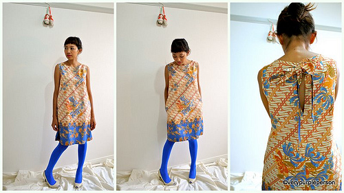 Bow tie blue orange dress