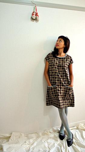 Blue pom pom brown batik dress