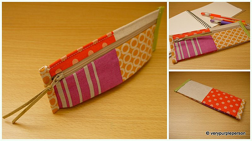 Zippered pencil pouch in Echino fabric