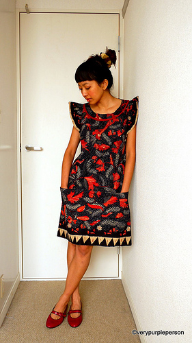 Black and red batik dress