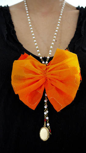Orange bow necklace aka my Anthropologie knock-off