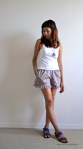 Grey floral ruffled shorts