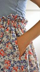 Floral paper bag skirt