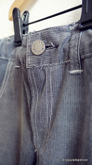 Reused waistband and button