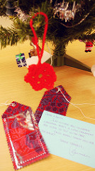 Luggage tags and Christmas ornament
