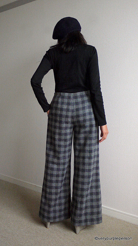 Wide leg wool pants