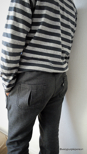 Grey flared pants