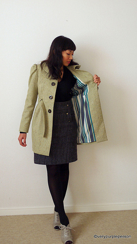 Green Tweed coat