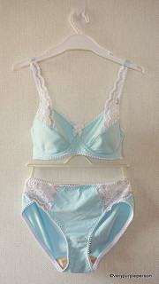 Blue and white lace set