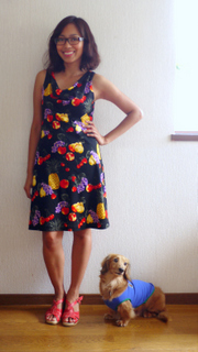 Fruits print jersey dress (Vogue 1351)