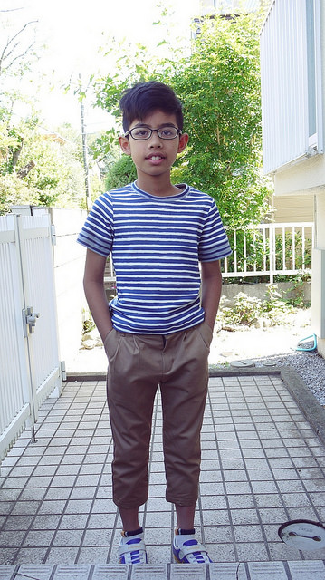 Stripes t-shirt and khaki pants