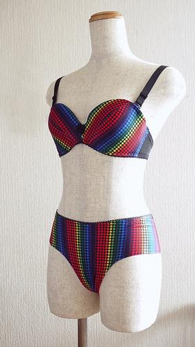 Colorful dotty bra set