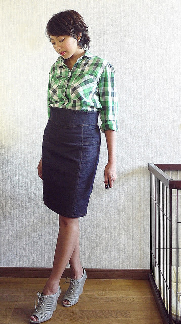 Plaid shirt and denim skirt