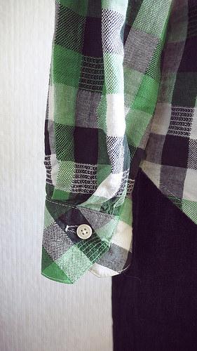 Plaid shirt and denim skirt