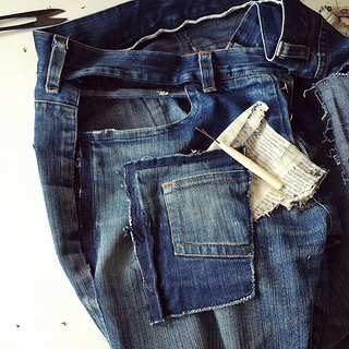 Repairing jeans pockets