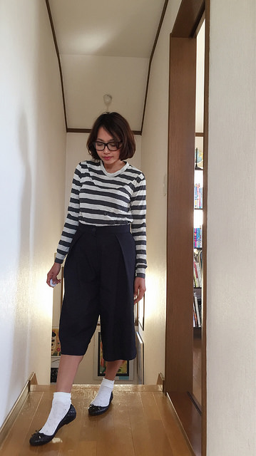 Striped T-shirt and culottes