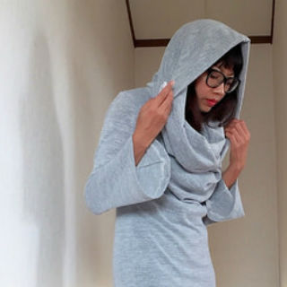 Hooded cowl neck dress