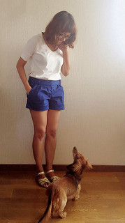 Shorts and white tee