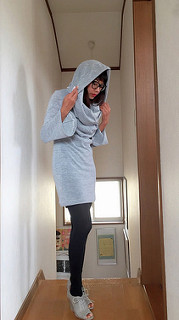 Hooded cow neck dress