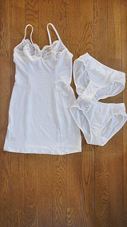 White slip dress and panties